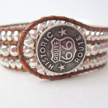 Women's Beaded Leather Cuff Pewter Beads Route 66 Button Triple Row Leather Wrap Bracelet Cowgirl Cuff Handmade Beaded Leather Wrap Cuff