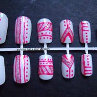 Glitter Aztec Tribal Print False Nail Set