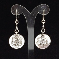 Disdae Israel Sterling Silver Earrings Dangling Flower French Hook Style, Boho Design, Vintage Jewelry 618m