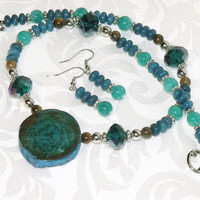 Turquoise Teal and Brown Stone Bead Necklace and Earrings - teal bead jewelry