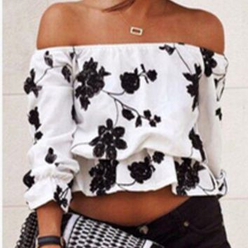 DCCKVQ8 Fashion Off Shoulder Long Sleeve Flower Print Loose T-shirt Tops