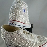 Wedge Bridal Converse- Wedding Converse- Bling & Pearls Custom Converse Sneakers- Pers