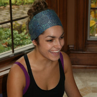 Blue Mosaic Yoga Headwrap, Yoga headband, workout headband, active headband, running headband, fitness headband