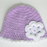 Toddler  Purple Hat With White Flower 2 To 5 Years  Old Girl Pastel  Lavender  Cloche  Infant Lilac Fall Beanie Baby Violet  Winter Cap