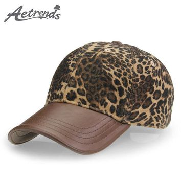 Leopard Hats with PU Leather Ponytail Baseball Cap Women Men Brand Luxury Caps Z-3892