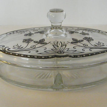 Beautiful Divided Glass ART DECO STERLING Jewelry Dish Vanity Box Back Etched Floral Designer Jewelry Box 1930s Original Wedding Gift Bride