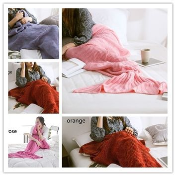Yarn Knitted Mermaid Tail Air Conditioning Blanket Super Soft Sleeping Cover Handmade Crochet Blanket