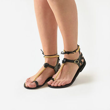 Paphian beaded sandals - handmade Greek sandals in all black leather.  FREE SHIPPING