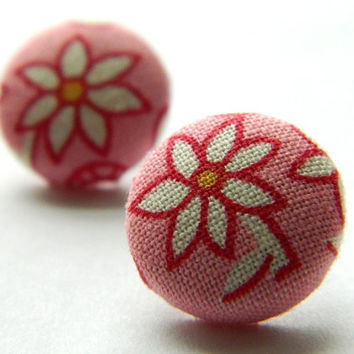 Button Earrings Flower PinkWhite 30's/40's by PushTheButtons