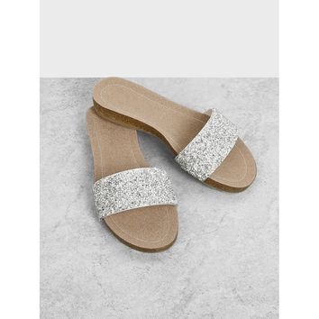 Sequin Detail Flat Sandals