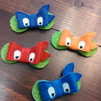 Set of Ninja Turtle inspired 3D felt bows