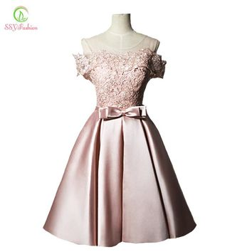 New Evening Dress Sweet Pink Lace Satin Short A-line Banquet Party Gown Bride Formal Dresses