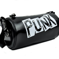 "Black ""Punk"" Tube Duffle Shoulder Bag"