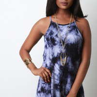 Thermal Knit Tie Dye Racerback Mini Dress
