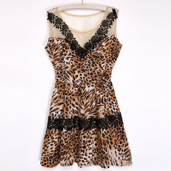New 2015 Elegant Women Leopard Dress V-Neck Sleeveless Lace Meshleopard Printed Casual Dress Sexy Club Evening Party Dresses