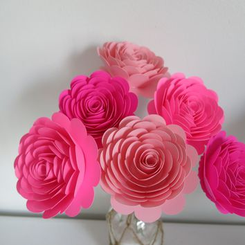 "Lovely Pink Ombre Paper Flower Bouquet for Sweetheart, 6 Roses on Stems, 3"" Blooms"