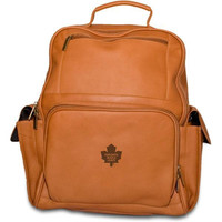 Pangea Tan Leather Large Backpack - Toronto Maple Leafs