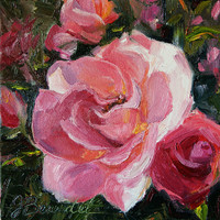 Original Painting Rose Peach Pink Still life Shabby Chic Oil Painting