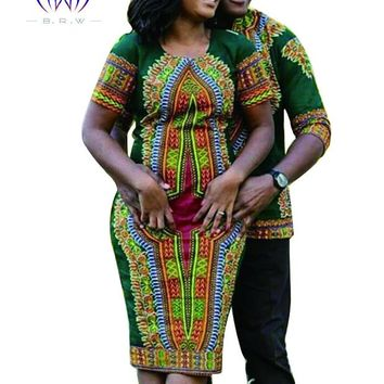 African Dresses for Women Short Sleeve Dashiki Men
