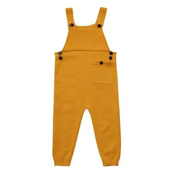 Baby Boy Clothes : Knitted Square Collar Rompers