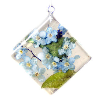 Flower Jewelry - Real Flower Jewelry - Necklace Charm - Resin Pendant - Blue Flower Jewelry - Handmade Jewelry - Real Flower Jewelry -