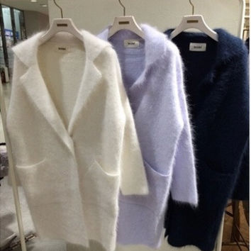 3 colors 2016 autumn and winter turn-down collar medium-long thickening sweaters womens cardigans womens  (A8872)
