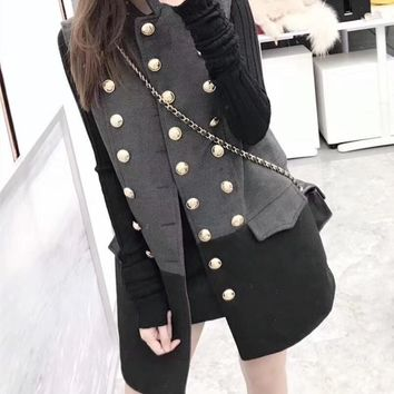 """Dior"" Women Temperament Fashion Multicolor Sleeveless Double Row Buttons Cardigan Middle Long Section Wool Vest Jacket Coat"