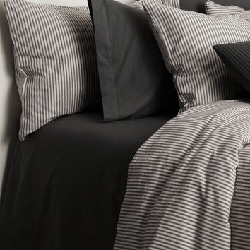 MATTEO Black Tick Duvet Set - White -