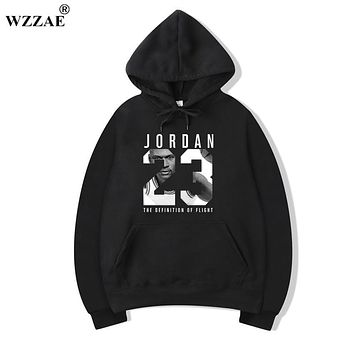 WZZAE Mens Hoodies 2018 New Style Men's Casual Players Jordan 23 Print Hedging Hooded Fleece Sweatshirt Hoody Pullover M-XXXL