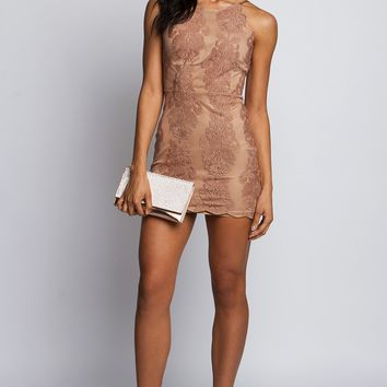 Sleeveless Lace Dress in Nude