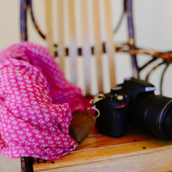 Pink and White Scarf Camera Strap