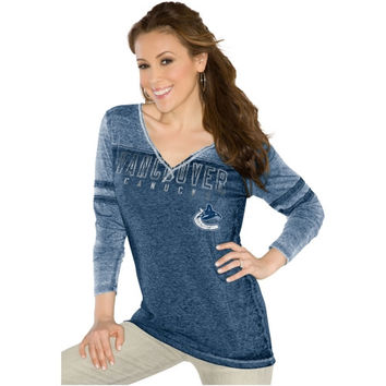 Touch by Alyssa Milano Vancouver Canucks Ladies Gridiron Long Sleeve Tri-Blend Slim Fit V-Neck T-Shirt - Navy Blue