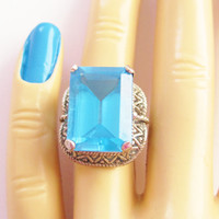 London Blue Topaz Ring Sterling Size 6 Vintage Huge 24.7 Carat Gemstone