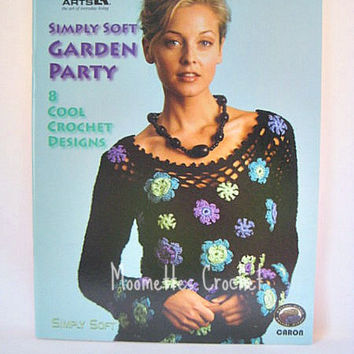 Garden Party Crochet Pattern, 8 Cool Crochet Designs, Pullover, Flower Purse, Kimono Shrug, Wrap, Caron Simply Soft, Leisure Arts, Destash