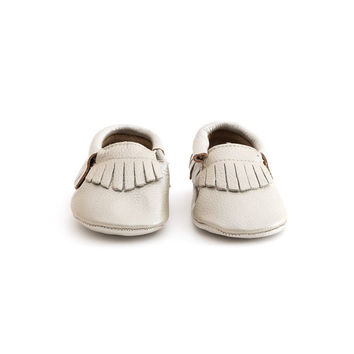 Fringe Baby Leather Moccasins Silver Coin