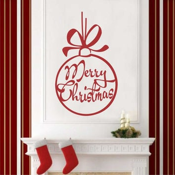 Merry Christmas Big Ornament | Holiday Decal | Vinyl Wall Lettering