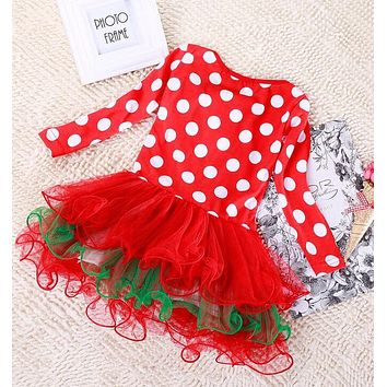 Baby Clothing Red Christmas Costume snowman For Baby Girls Clothes Children Cotton Cartoon Snowman Dots Toddler Girls Dresses