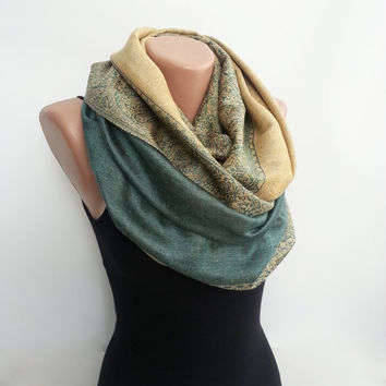 Pashmina infinity scarf green paisley loop scarf by sascarves
