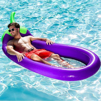 """Giant """"Eggplant"""" Inflatable Mattress 250*100CM Pool Float Mat Toys Sunbathe Bed Air Pad Buoy Swimming Accessories Ring Beach Mat"""
