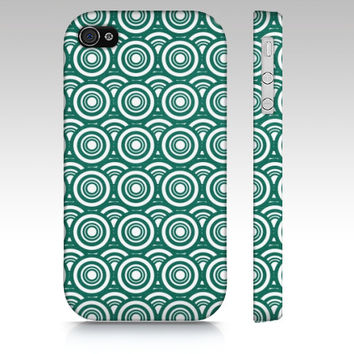 Teal Deco - Iphone 4, 5 & Samsung Galaxy S3, S4 Case - Geometric, circles, art, vintage,