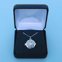 Engraved Vintage Sterling Silver Swirl Compass Locket with 17.5 inch Silver Chain