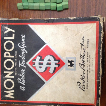 1936 Vintage Monopoly A Parker a Trading Company original box  w wooden hotels houses cards and money. no board or playing pieces
