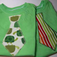 Green Hand Dyed Little Boy Tie T-Shirts (Set of 2 - Size 2/3)