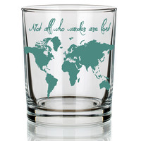14oz. Not All Who Wander Old Fashioned Rocks Glass