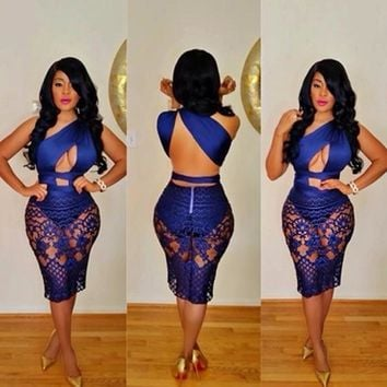 Streetstyle  Casual Blue Lace Backless Club One-shoulder See-Through Cut-out Asymmetrical Bodycon Mini Dress