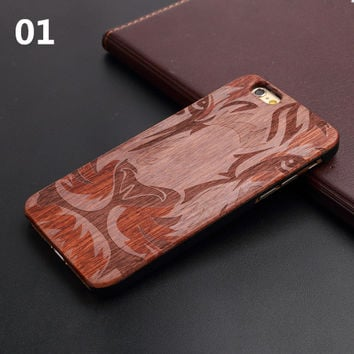 New Brand Thin Luxury Bamboo Wood Phone Case For Iphone 5 5S 6 6S 6Plus 6S Plus 7 7Plus Cover Wooden High Quality Shockproof -0327