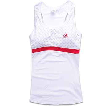 One-nice™ Adidas Woman Fashion Print Gym Sport Cotton Sleeveless Tunic Shirt Top Blouse