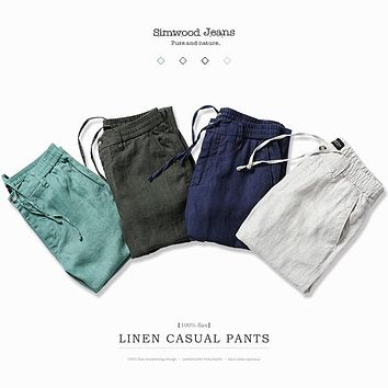 SIMWOOD 2017 AutumnSummer New Harem Pants Men 100% Pure Linen Ankle-Length Casual Thin Drawstring  Trousers Vintage XC017001