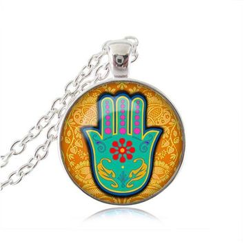 Hamsa Necklace Om Jewelry Henna Hamsa Hand Of Fatima Pendant Glass Dome Necklace Zen Statement Chain Necklace Attractive Gifts 4