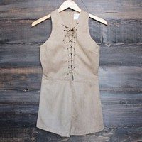 I suede it lace-up front romper in tan